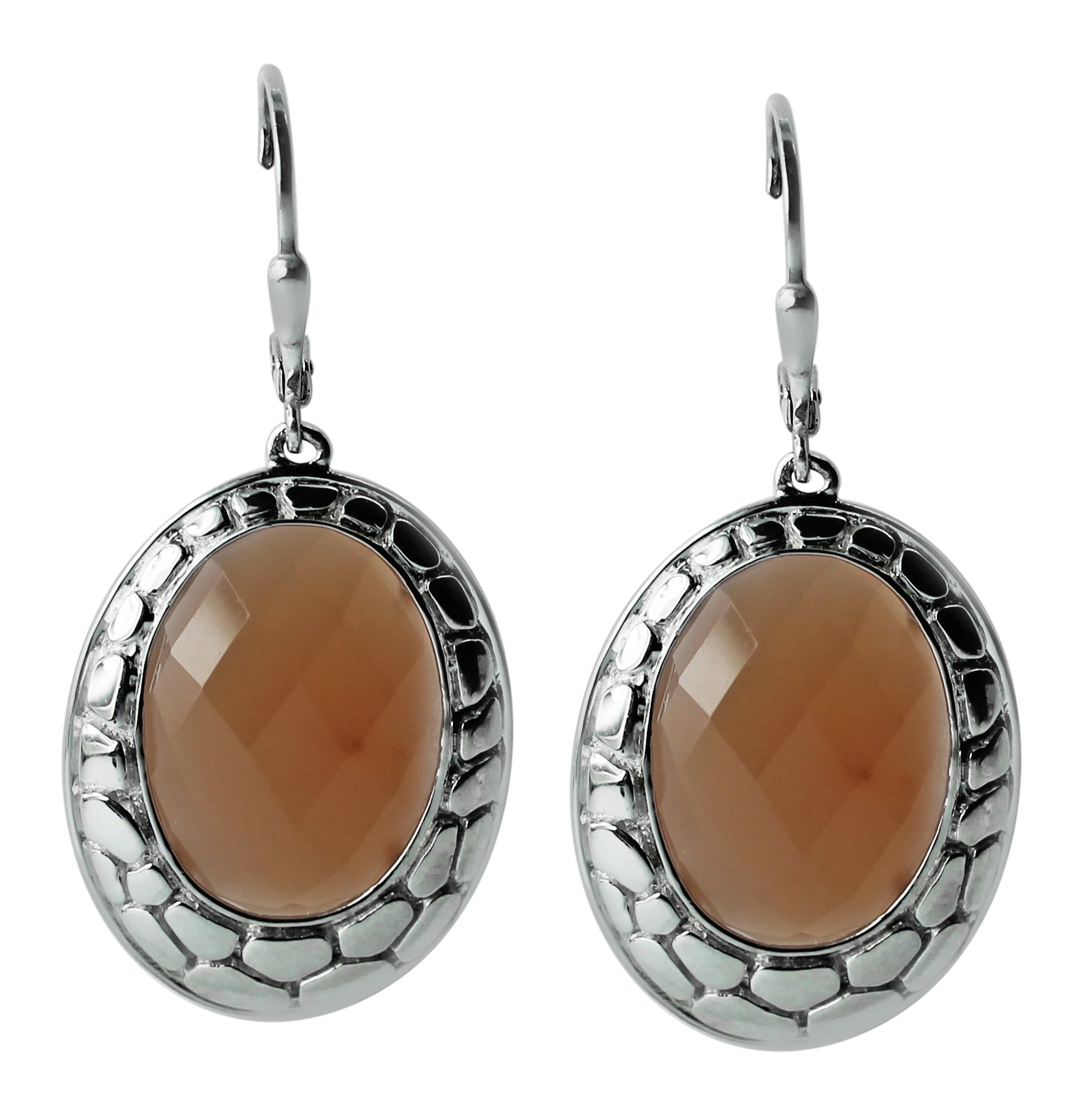 earrings and pendant with round natural peach moonstone Moon Holidays ready to ship Sterling silver womens set